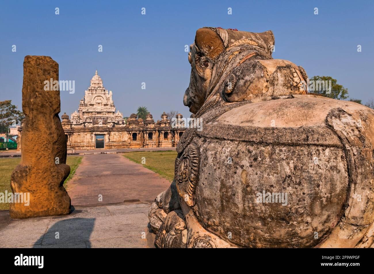 Templo Kailasanatha Kanchipuram de Tamil Nadu, India Foto de stock