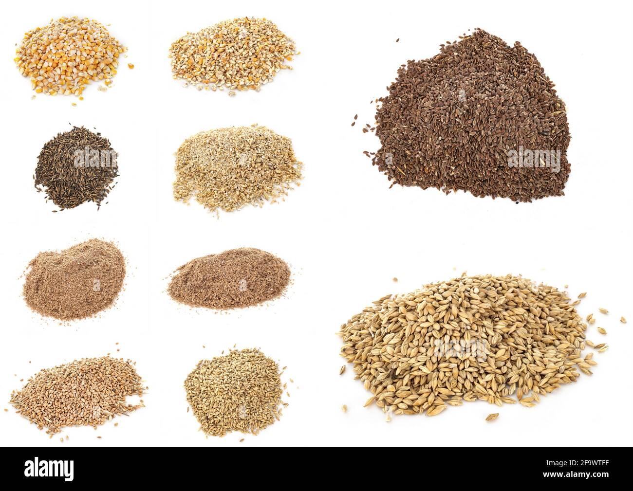 cuadro compuesto de cereales para la alimentación animal Foto de stock