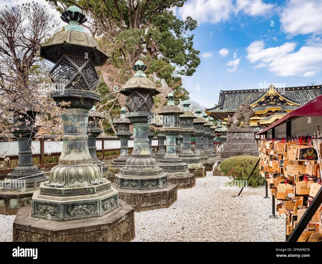Linternas de bronce en el santuario sintoísta Ueno Toshogu en el parque Ueno Onshi, Tokio, Japón, en primavera. Foto de stock