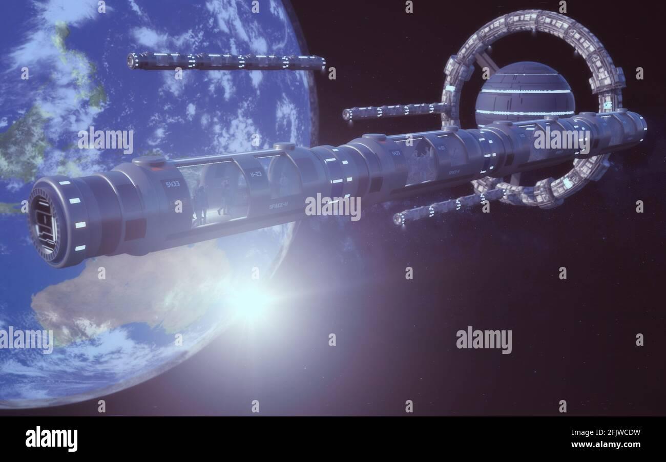 3d renderizar. Estación espacial y hotel Foto de stock