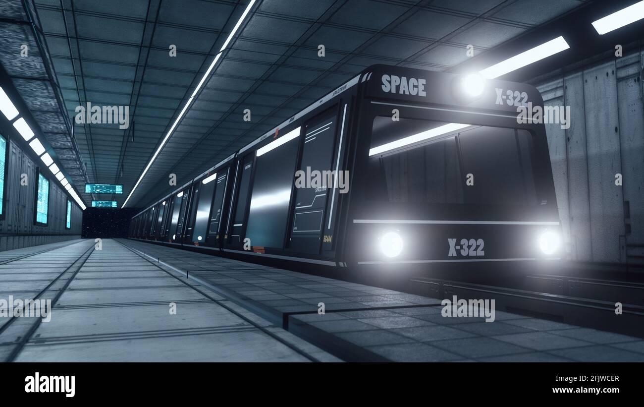 3d renderizar. Concepto futurista de tren espacial Foto de stock