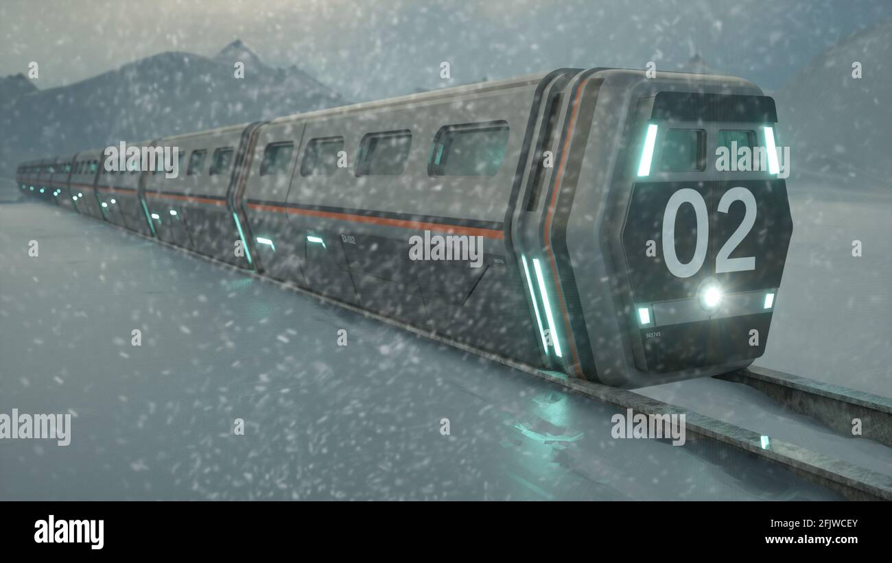 3d render. Tren rompehielos y concepto Foto de stock