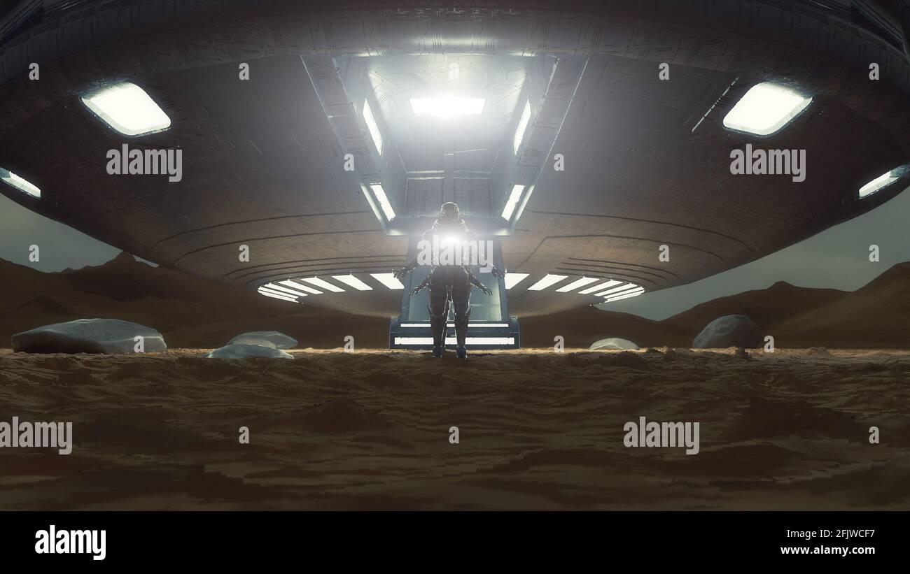 3d renderizar. Concepto de nave espacial OVNI Foto de stock