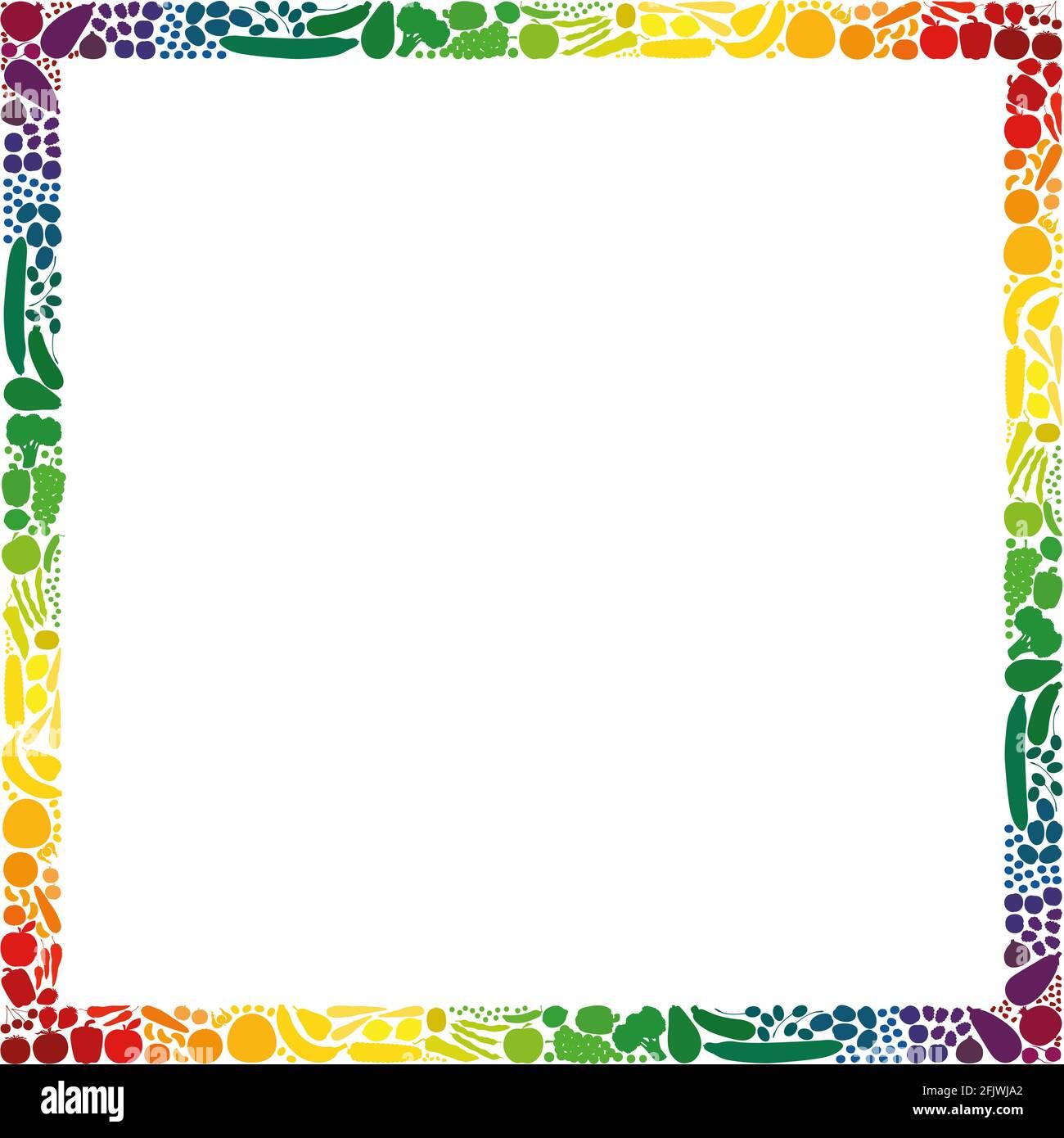 Frutas y verduras, marco de formato cuadrado, colección de colores con degradado de arco iris - ilustración sobre fondo blanco. Foto de stock