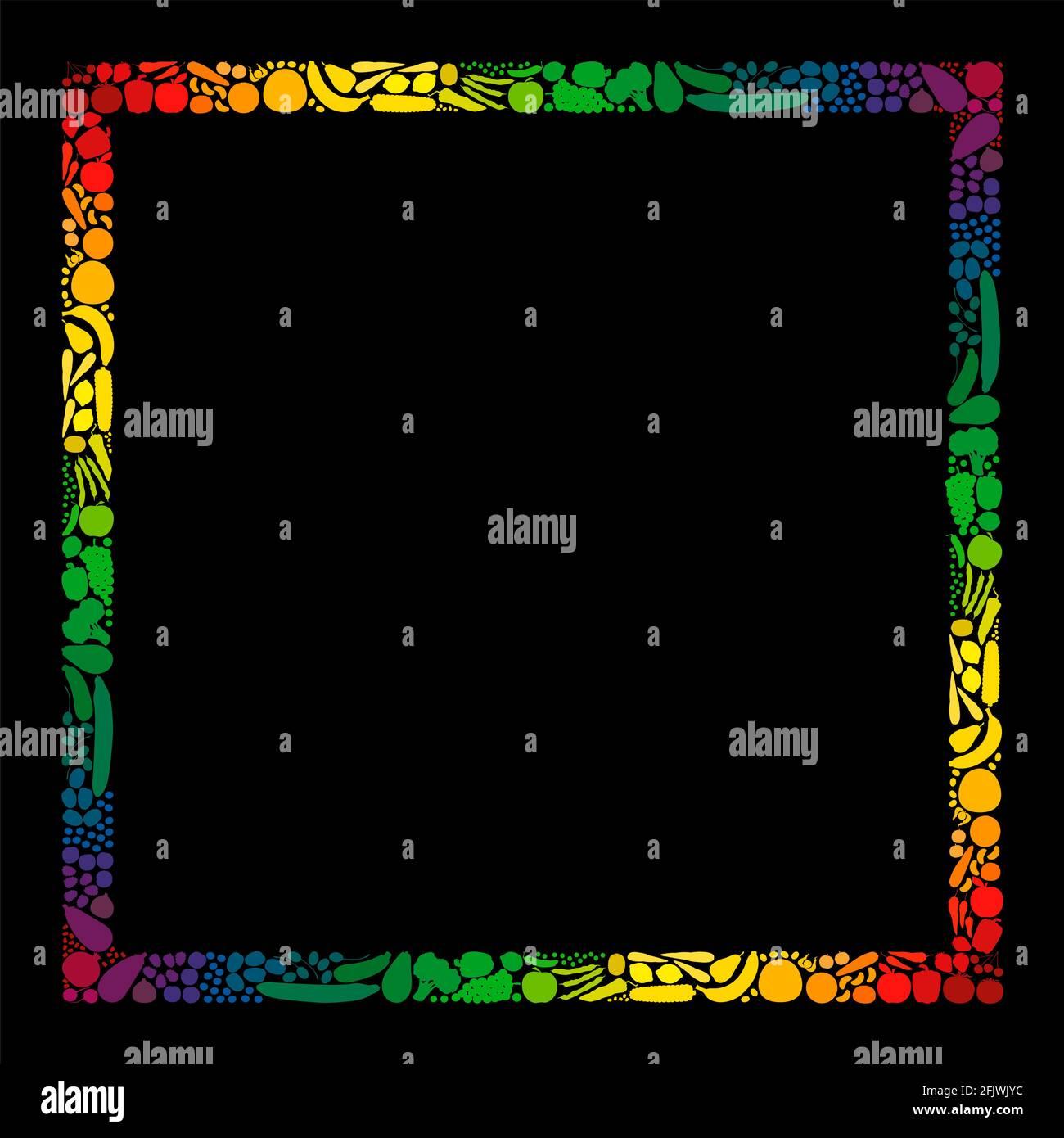 Marco de verduras y frutas, formato cuadrado, rayas de color arco iris - ilustración sobre fondo negro. Foto de stock