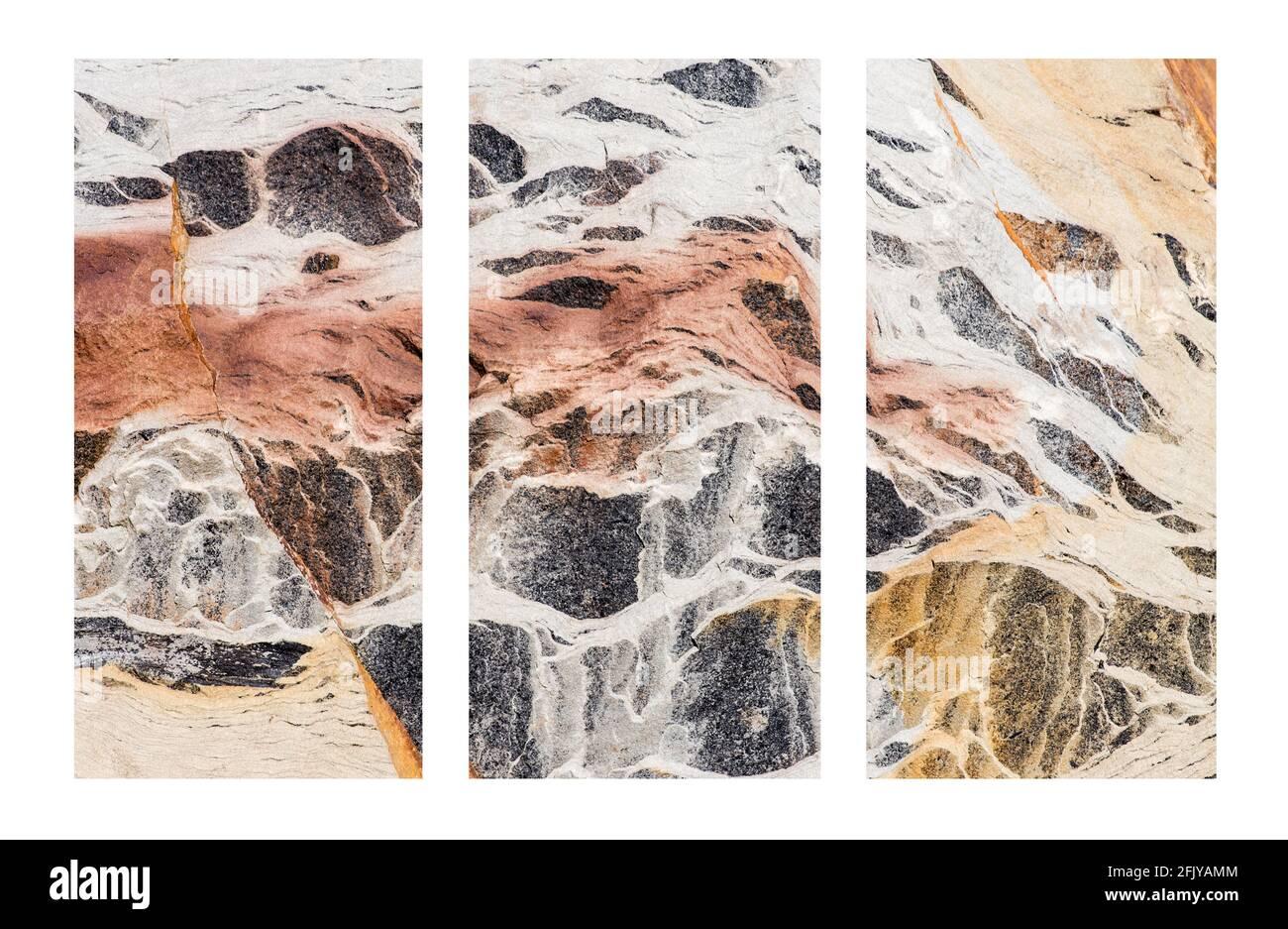 Tríptico abstracto basado en los colores de la roca Foto de stock
