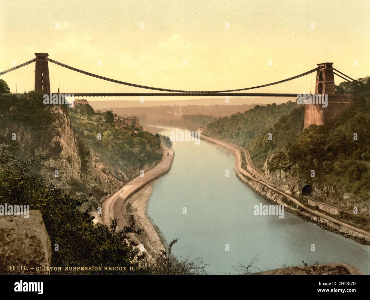 Clifton Suspension Bridge cerca de Bristol alrededor de 1890-1900 Foto de stock