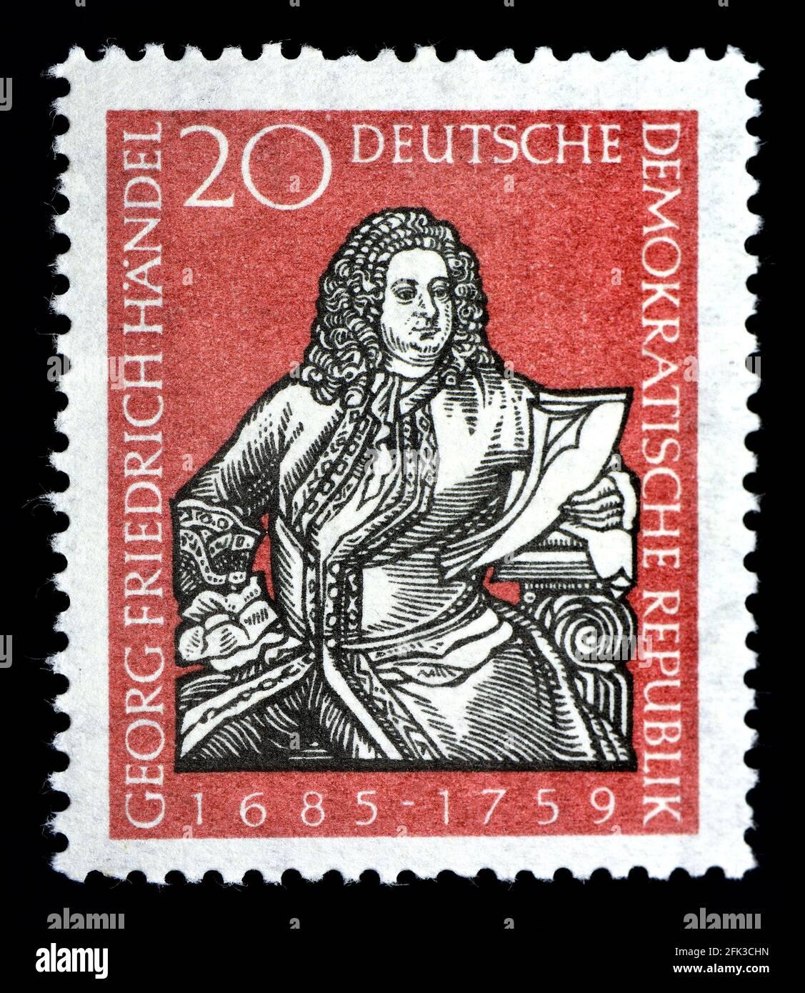 Sello postal alemán oriental (1959) : George Friedrich Handel (1685-1759) compositor. 200th aniversario de nacimiento Foto de stock