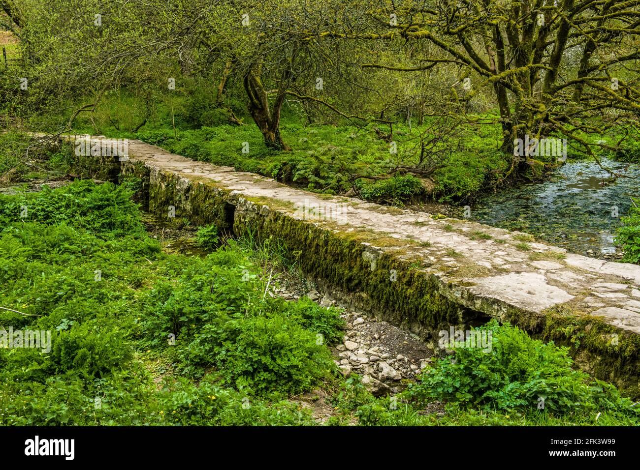 Un puente Clapper en la pequeña aldea de Castle upon Alun en el valle de Glamorgan al sur de Gales Foto de stock