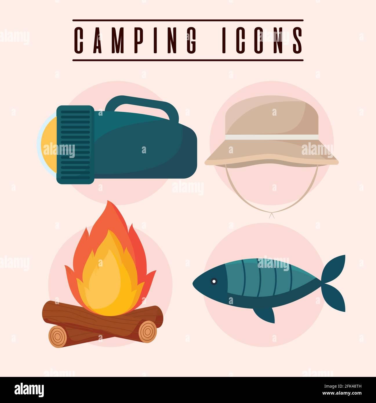 cuatro iconos de camping Ilustración del Vector