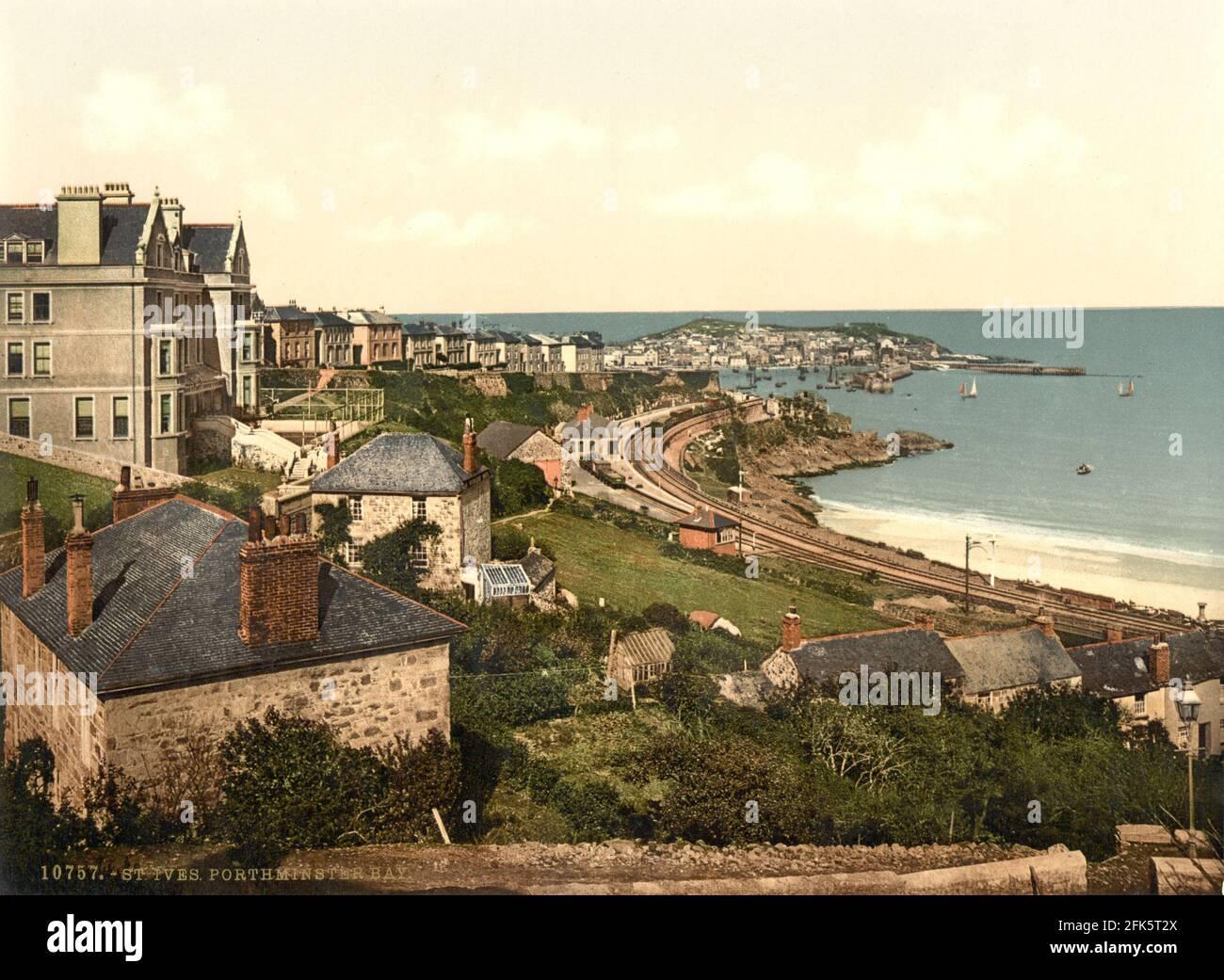 Porthminster Bay St Ives en Cornwall alrededor de 1890-1900 Foto de stock