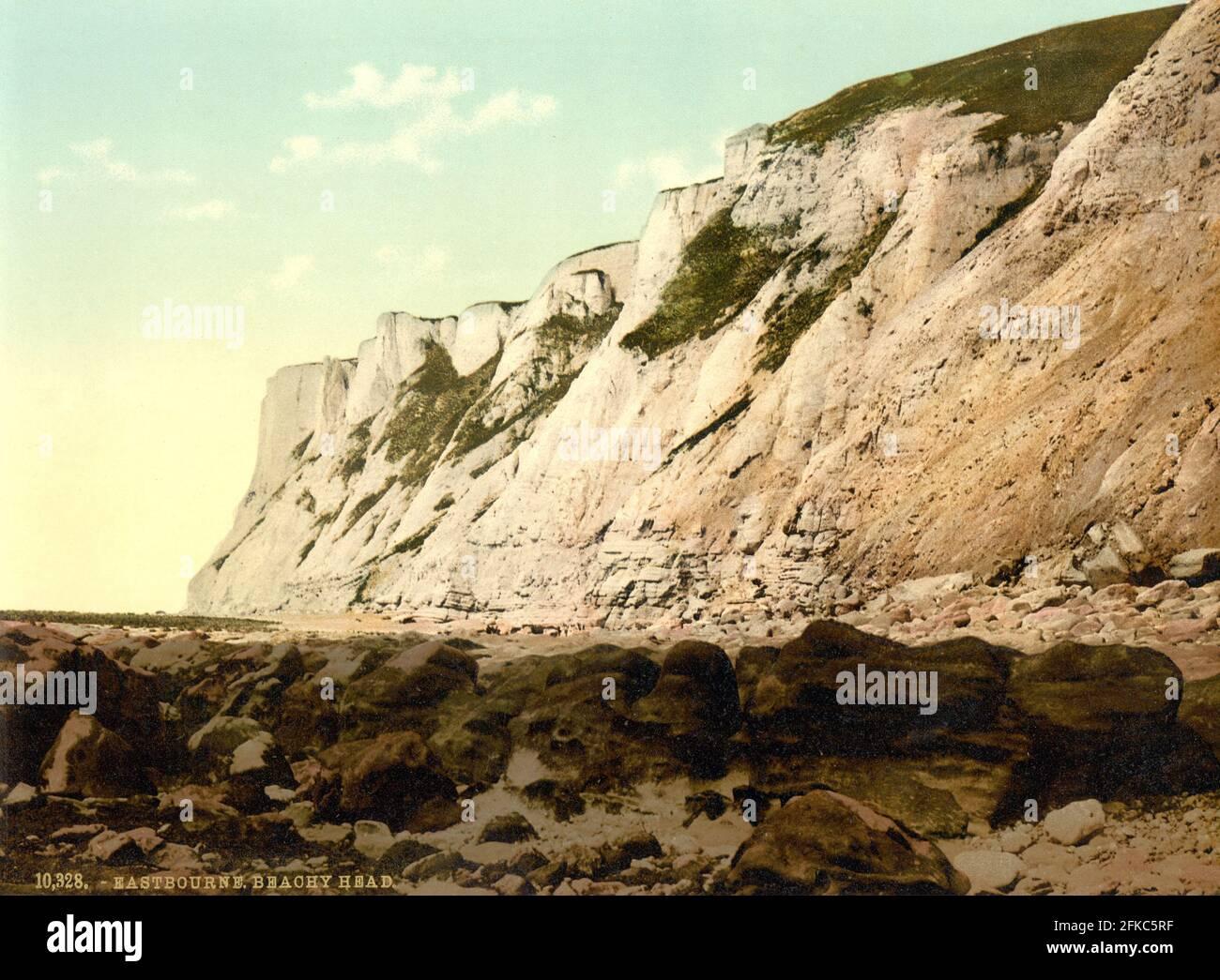 Los acantilados en Beachy Head, Sussex alrededor de 1890-1900 Foto de stock