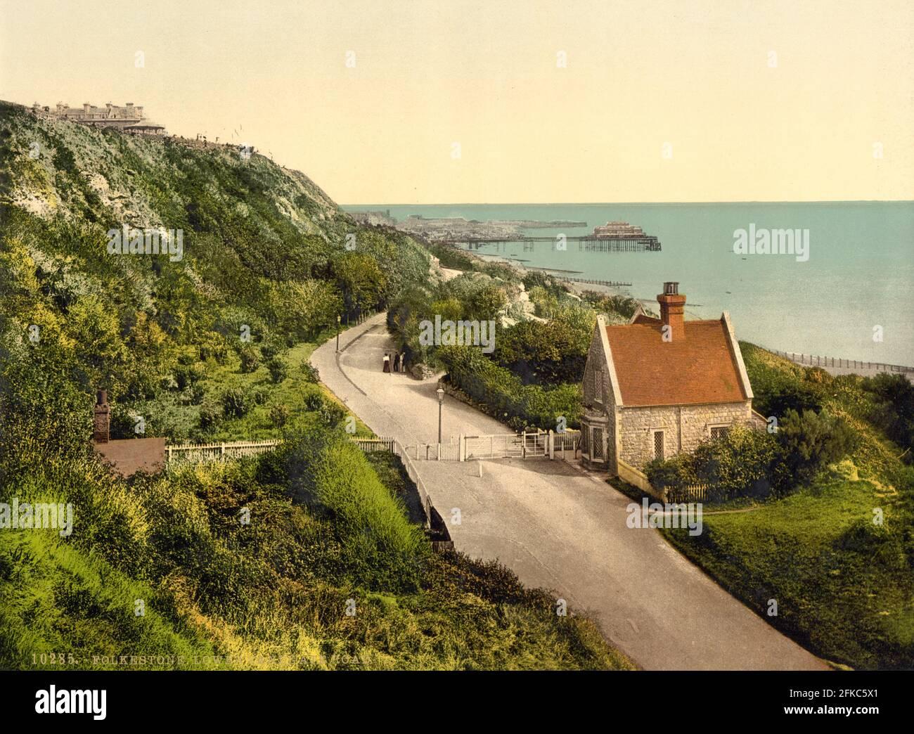 Lower Sandgate Road (ahora Lower Leas Coastal Park), Folkestone, Kent alrededor de 1890-1900 Foto de stock