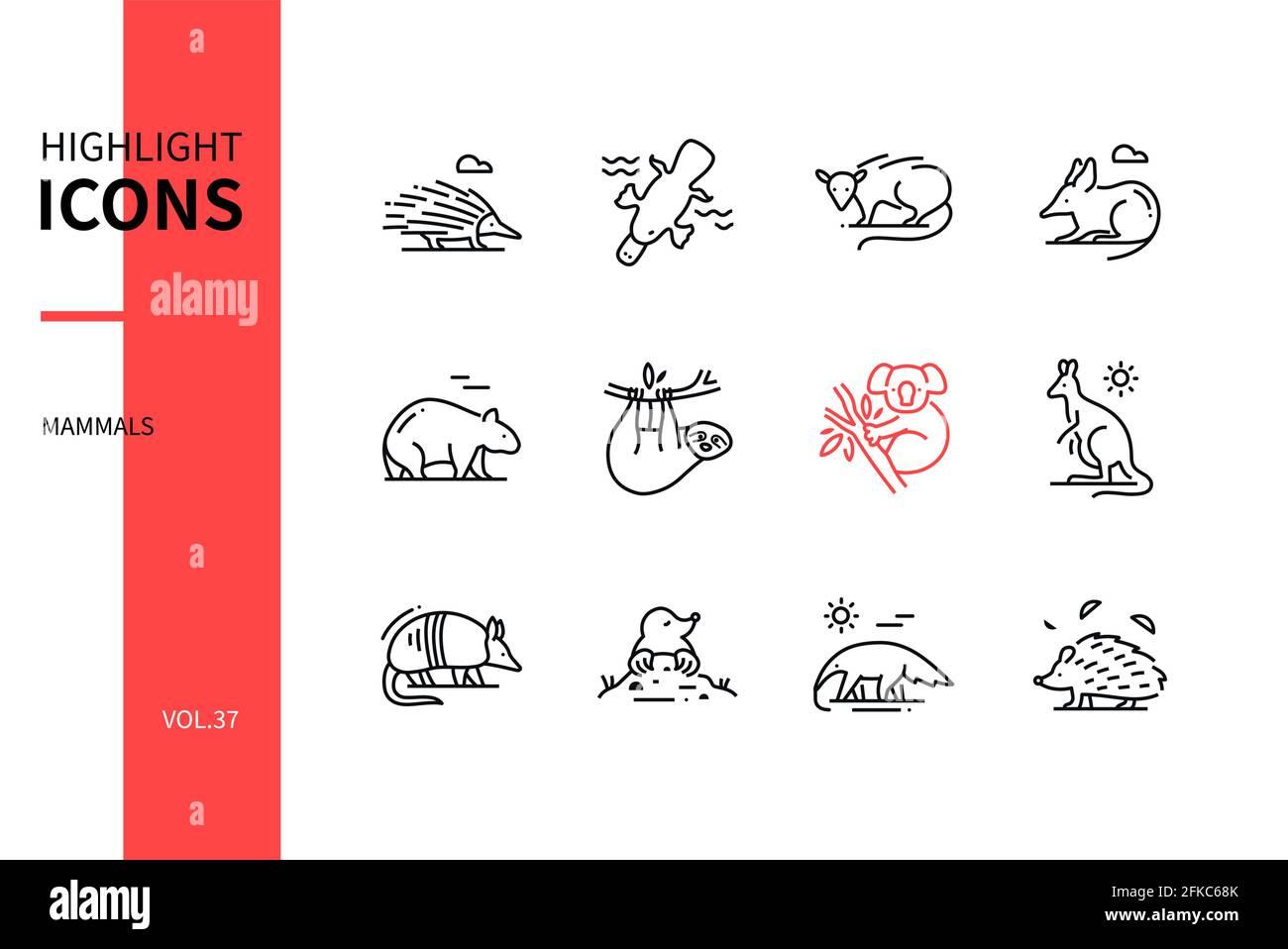 Diferentes Mamíferos - conjunto de iconos de diseño de líneas modernas. Concepto de varios animales. Imágenes en blanco y negro de un echidna, opossum, bandicoot, wombat, koal Ilustración del Vector