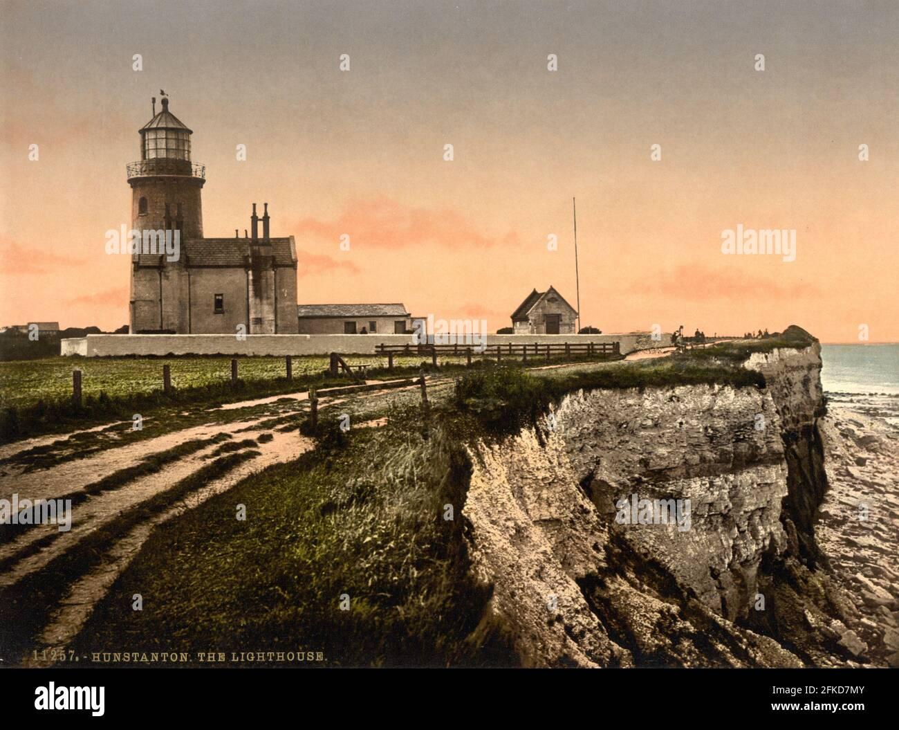 El Faro Viejo, Hunstanton, Norfolk alrededor de 1890-1900 Foto de stock