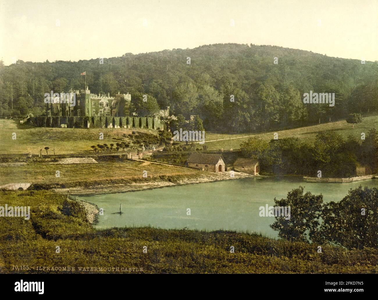 Castillo de Watermouth, Ilfracombe, Devon alrededor de 1890-1900 Foto de stock