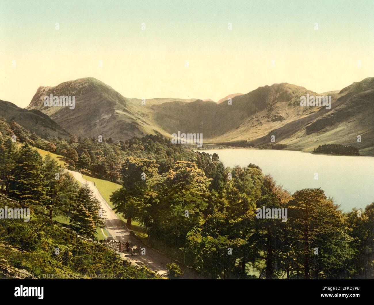Buttermere en el Distrito de los Lagos, Cumbria alrededor de 1890-1900 Foto de stock