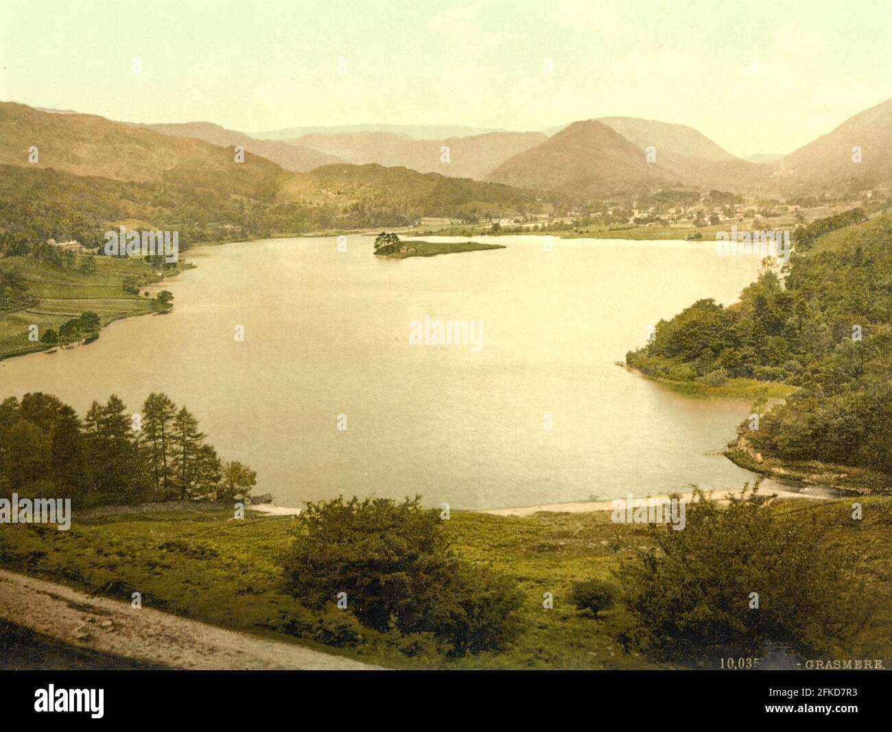 Grasmere en el Distrito de los Lagos, Cumbria alrededor de 1890-1900 Foto de stock