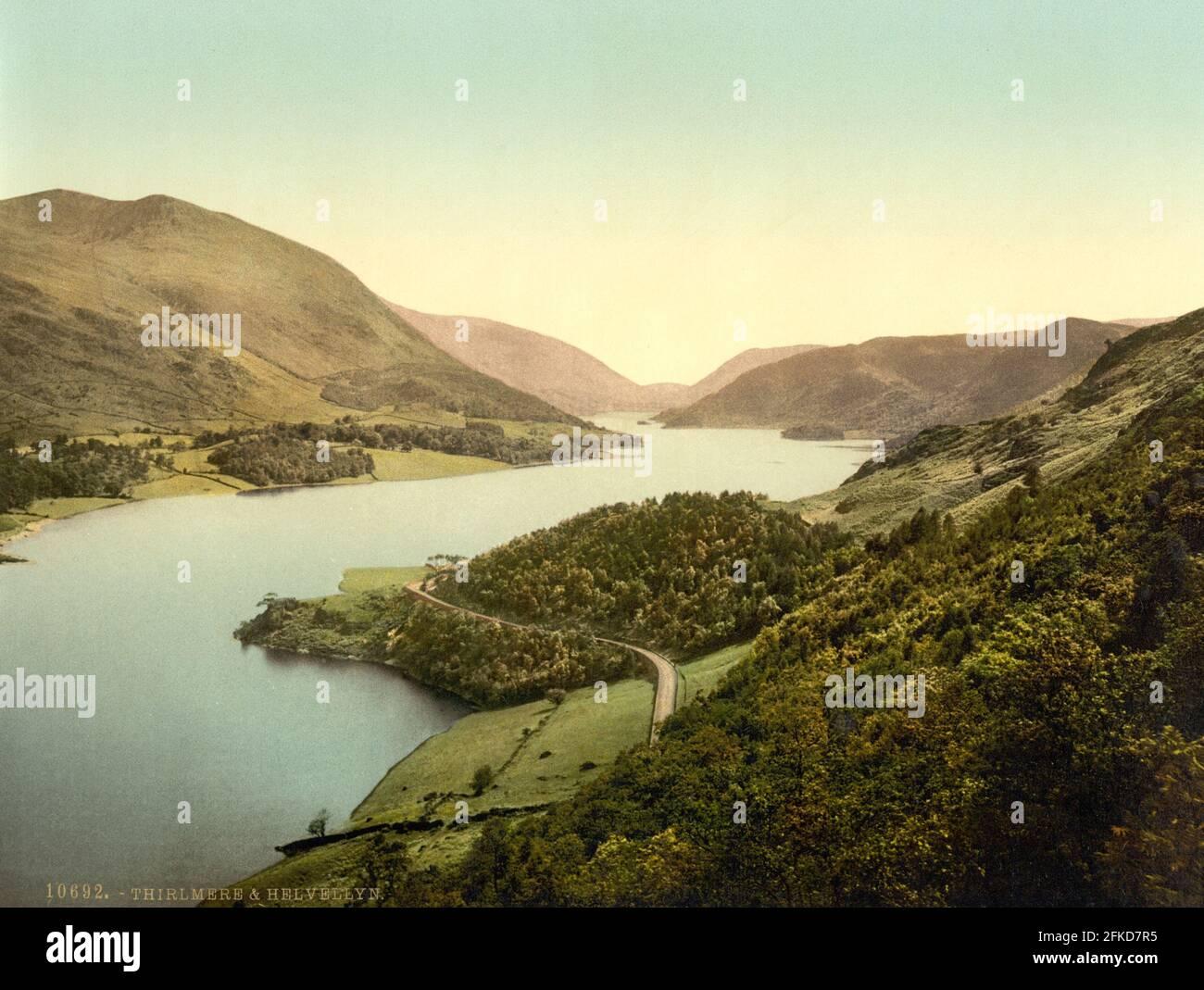 Thirlmere y Hellvellyn en el Distrito de los Lagos, Cumbria alrededor de 1890-1900 Foto de stock