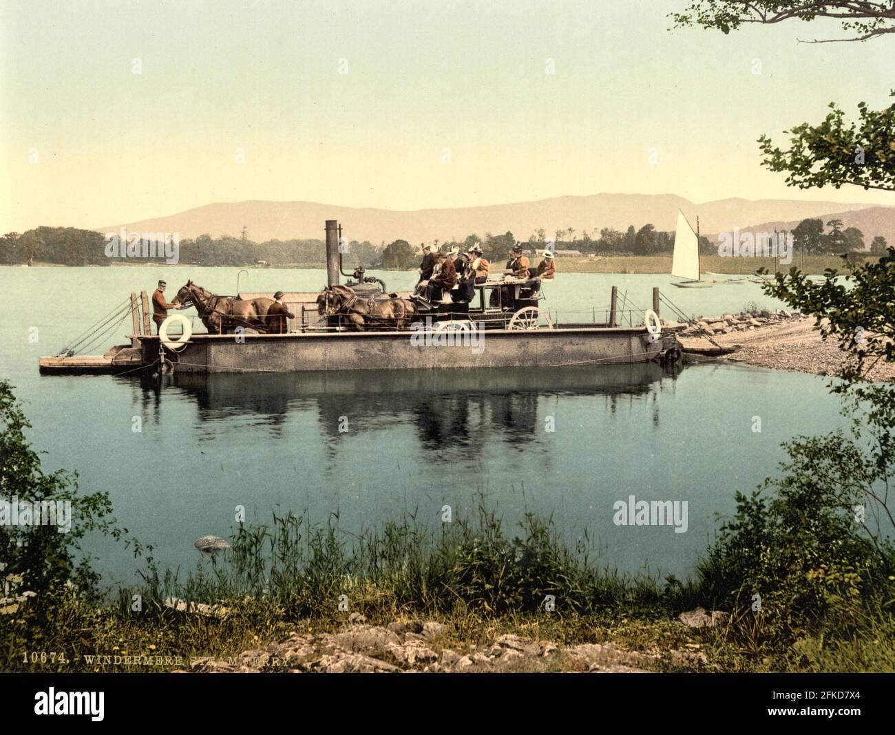 El ferry de vapor Windermere en el Distrito de los Lagos, Cumbria alrededor de 1890-1900 Foto de stock