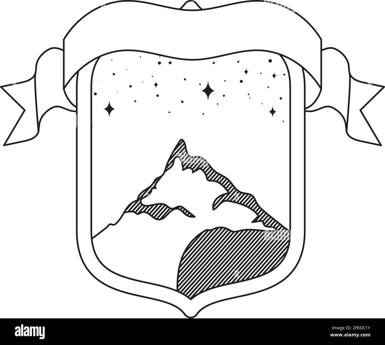 bonita insignia de montaña Ilustración del Vector