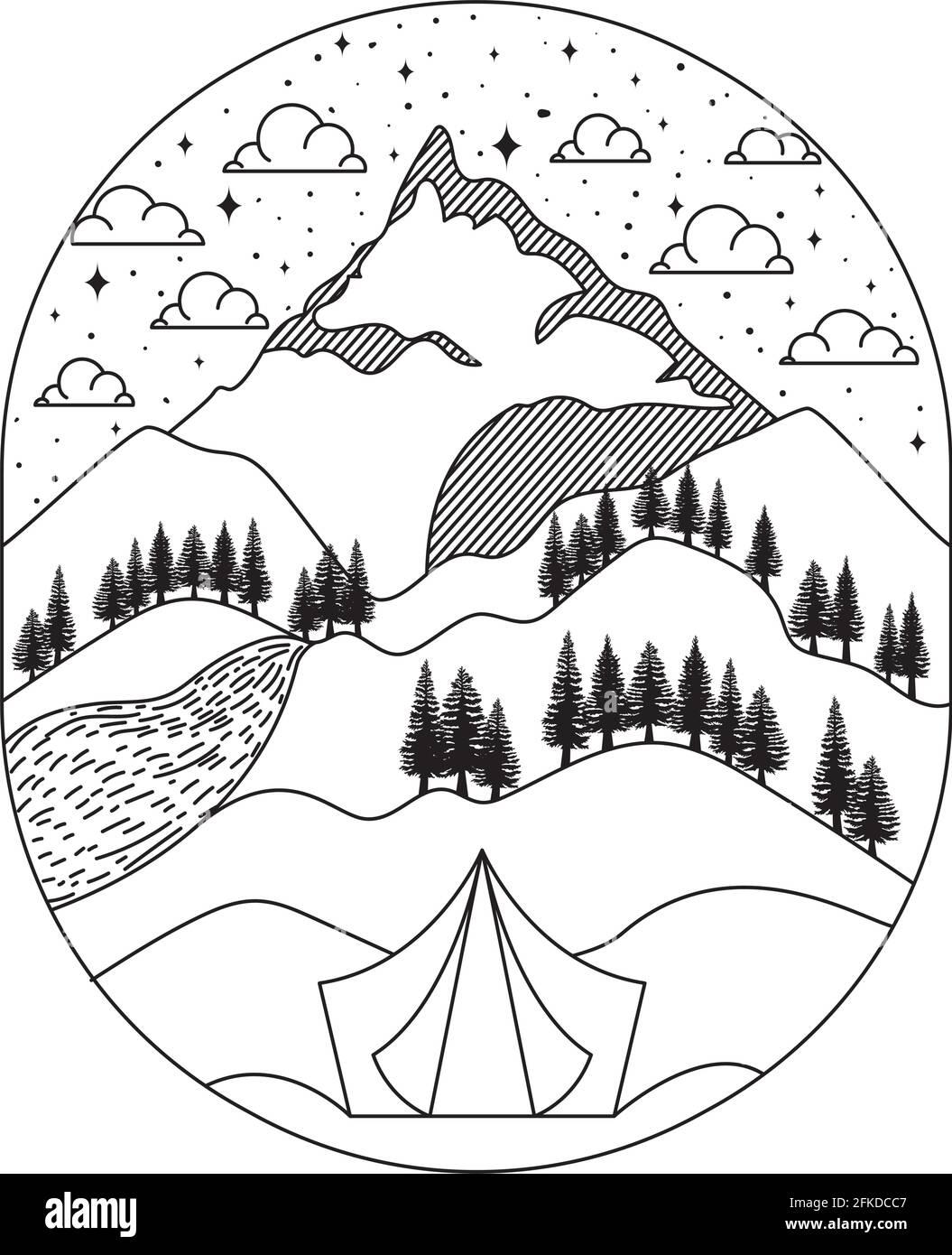 bonita silueta paisajística Ilustración del Vector