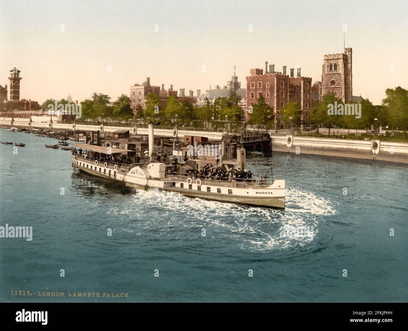 Lambeth Palace y el río Támesis, Londres alrededor de 1890-1900 Foto de stock