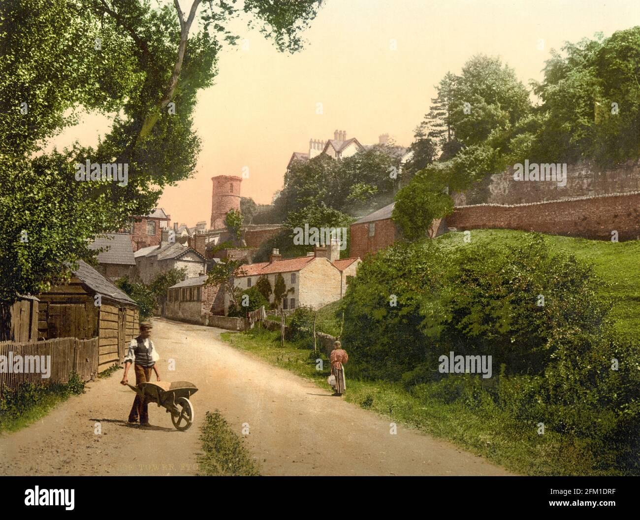 Una escena callejera de Ross-on-Wye en Herefordshire, alrededor de 1890-1900 Foto de stock