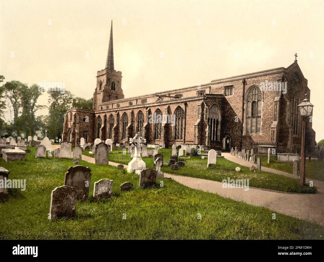 Iglesia de San Margarets, Lowestoft en Suffolk alrededor de 1890-1900 Foto de stock
