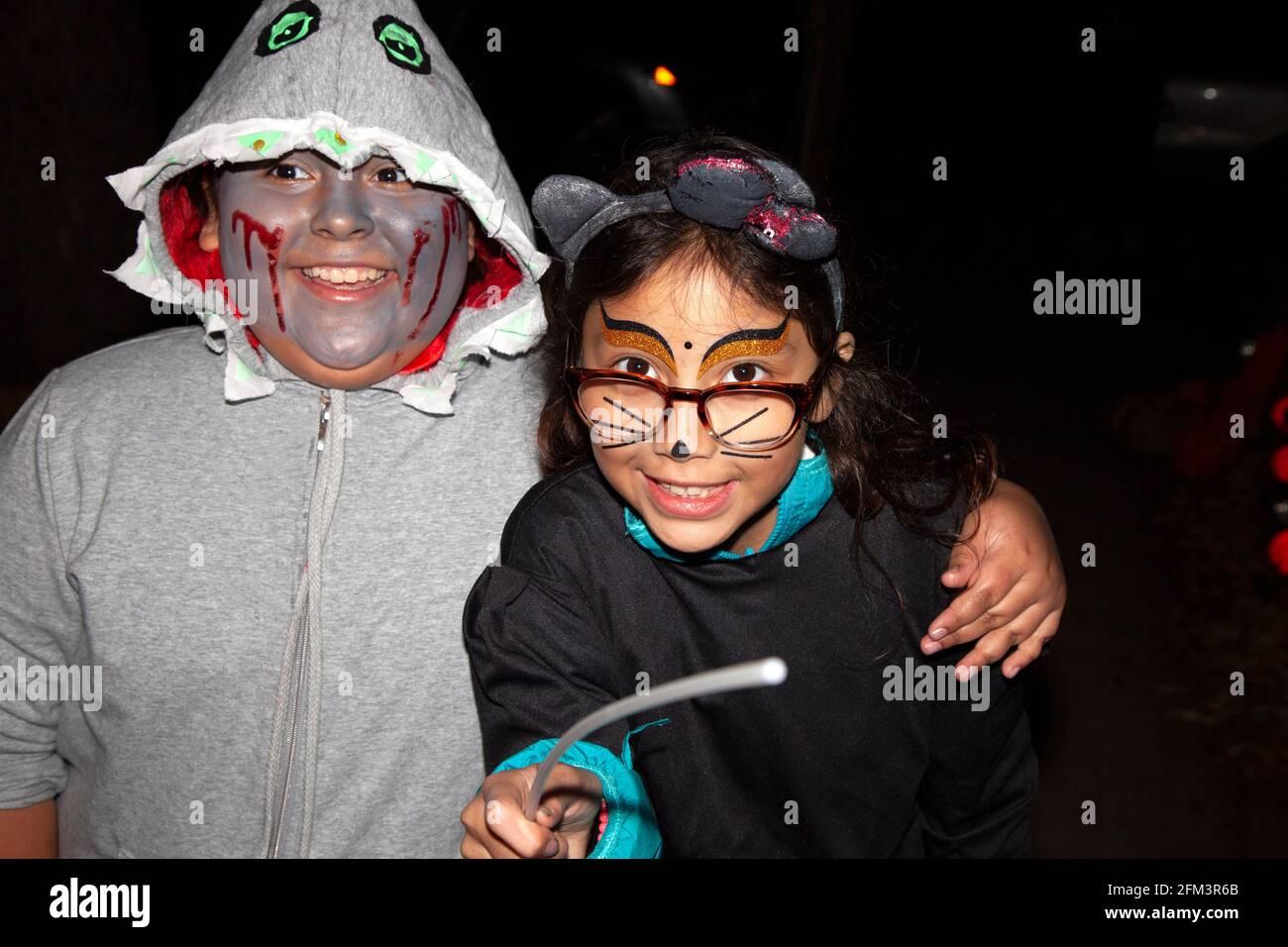 Truco de Halloween y tratadores disfrazados como gato y ghoulish como perro. St Paul Minnesota MN EE.UU Foto de stock