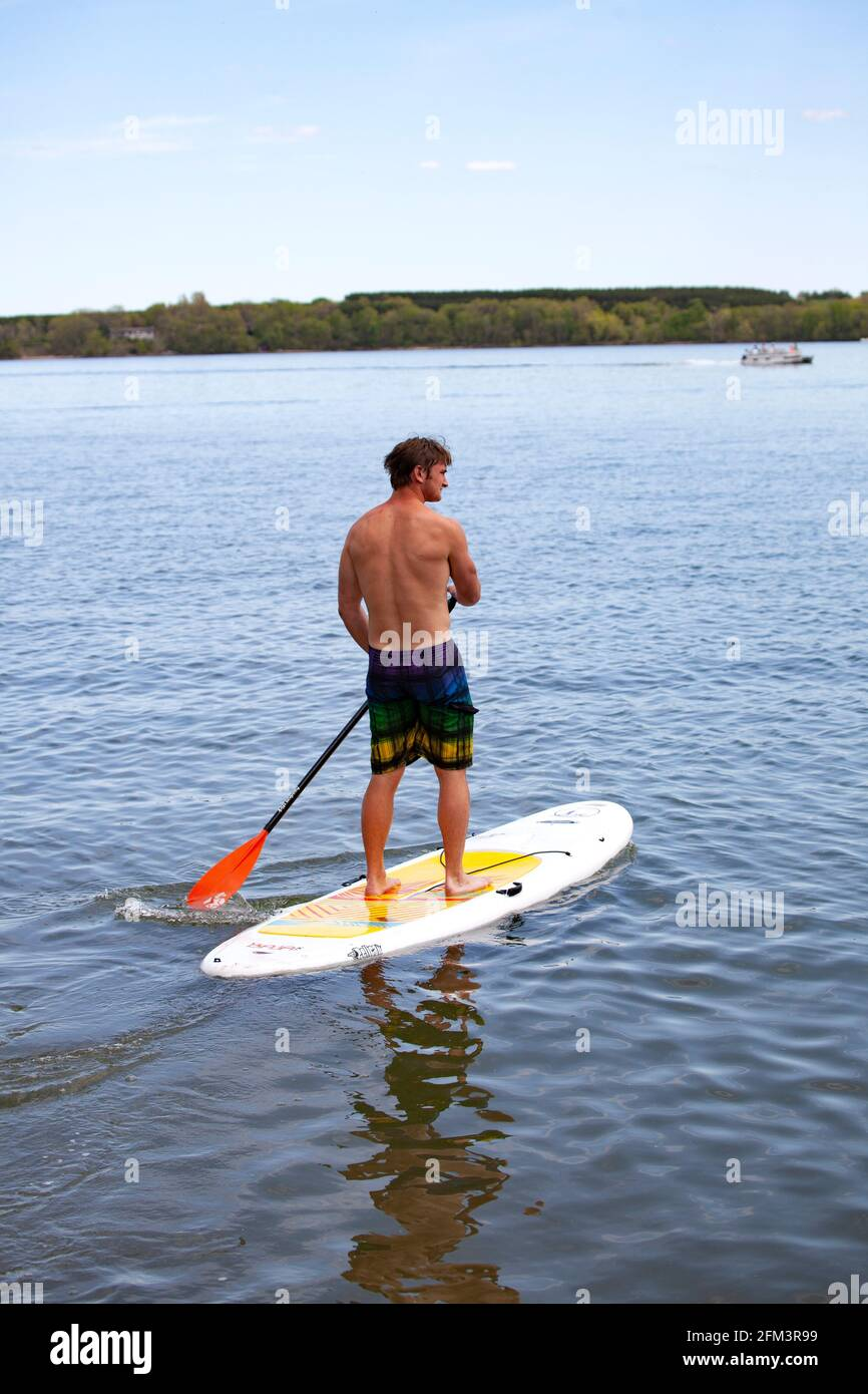 Adolescente disfrutando remando su tabla de surf de remo en un tranquilo lago Clitherall. Clitherall Minnesota MN Estados Unidos Foto de stock