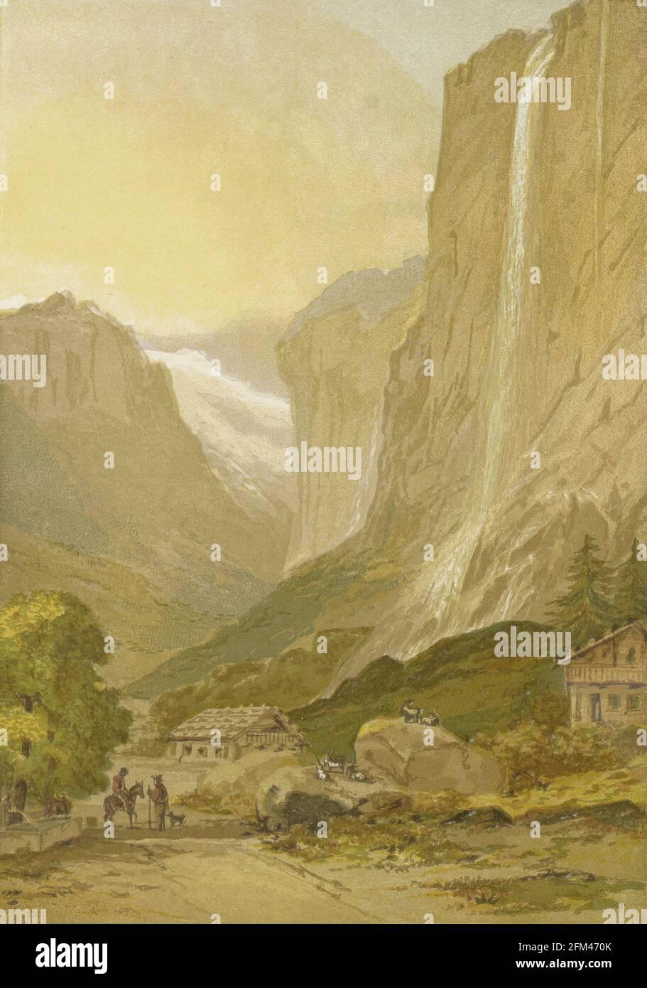 El Staubbach [la caída de Staubbach (Staubachfall lit.: Caída de la cala de polvo) es una cascada en Suiza, situada justo al oeste sobre Lauterbrunnen en las tierras altas de Bernese. La cascada cae a 297 metros (974 pies) de un valle colgante que termina en acantilados colgantes sobre la Weisse Lütschine]. Del libro La teoría y práctica de la pintura de paisajes en colores de agua ilustrada por una serie de veintiséis dibujos y diagramas en colores y numerosos cortes de madera por Barnard, George, 1807-1890 Publicado en 1885 por George Routledge e Hijos Londres Foto de stock
