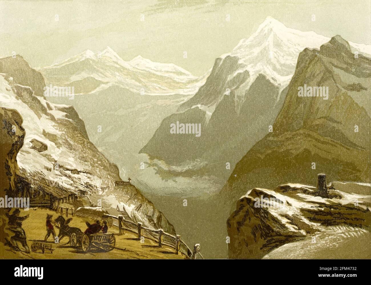 El Stelvio (en italiano: Passo dello Stelvio) es un paso de montaña en el norte de Italia que limita con Suiza a una altura de 2.757 m (9.045 pies) sobre el nivel del mar. Es el paso de montaña pavimentado más alto de los Alpes orientales, Y el segundo más alto de los Alpes]. Del libro La teoría y la práctica de la pintura del paisaje en agua-colores ilustrados por una serie de veintiséis dibujos y diagramas en colores y numerosos cortes de madera por Barnard, George, 1807-1890 Publicado en 1885 por George Routledge e Hijos Londres Foto de stock