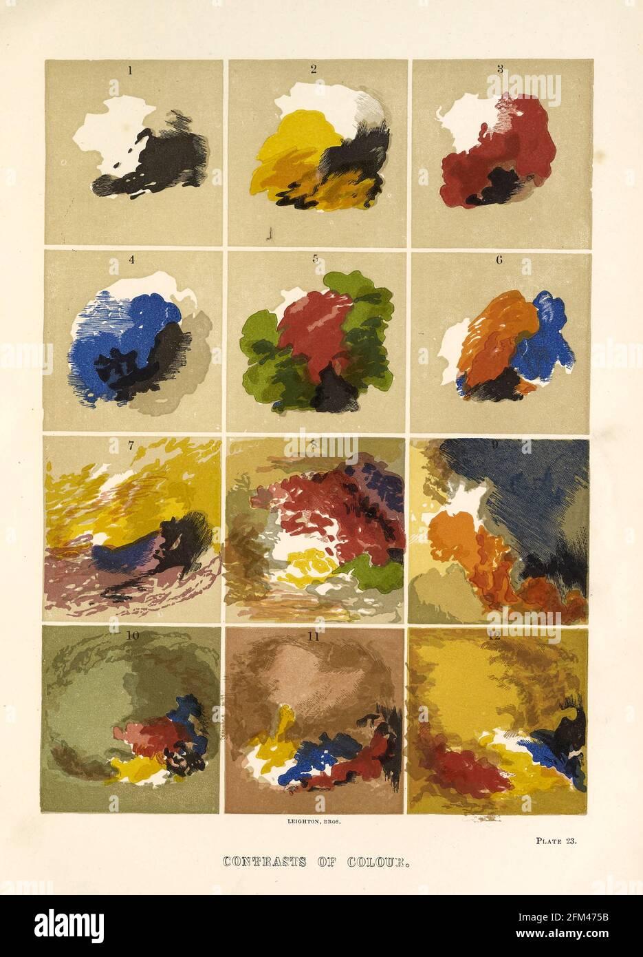 Contrastes de colores del libro La teoría y la práctica de la pintura de paisajes en colores de agua ilustrada por una serie de veintiséis dibujos y diagramas en colores y numerosos cortes de madera por Barnard, George, 1807-1890 Publicado en 1885 por George Routledge e Hijos Londres Foto de stock
