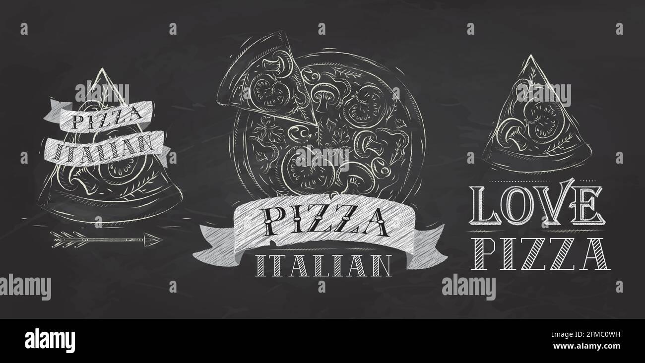 Símbolo de pizza, iconos y una porción de pizza con la inscripción dibujo estilizado italiano con tiza en la pizarra Ilustración del Vector