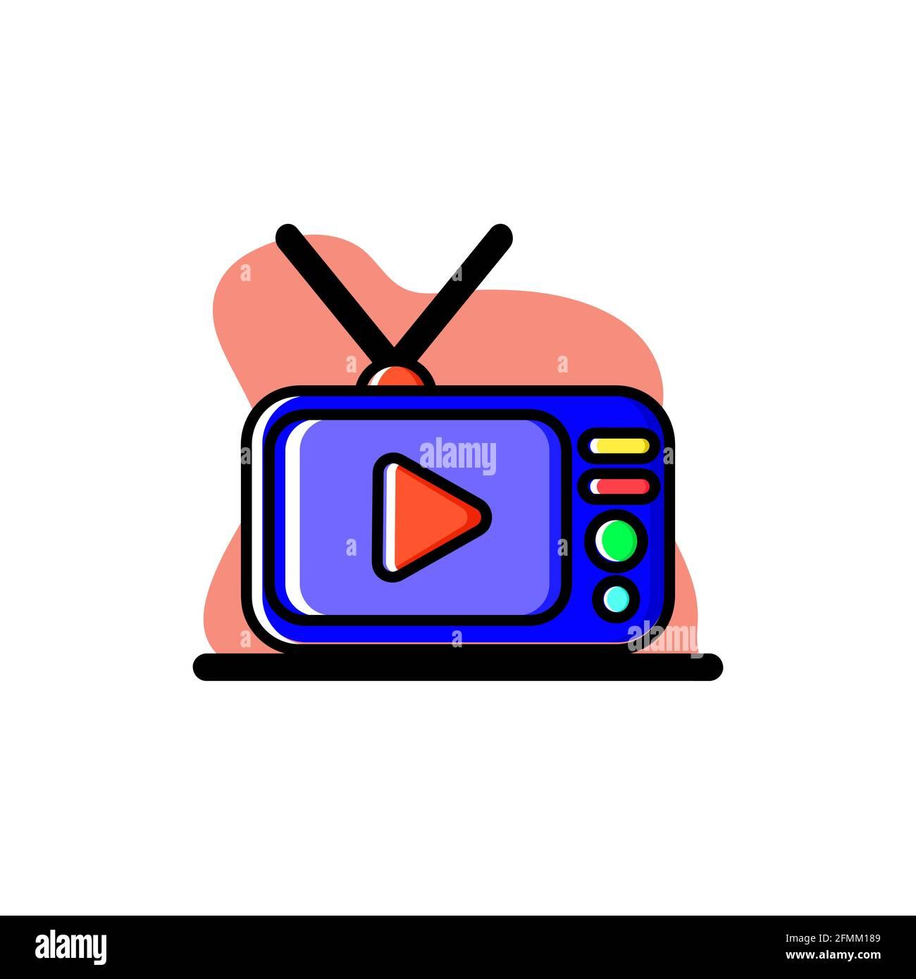 Cool Television Conceptual Vector Illustration Diseño Icono eps10 Ilustración del Vector