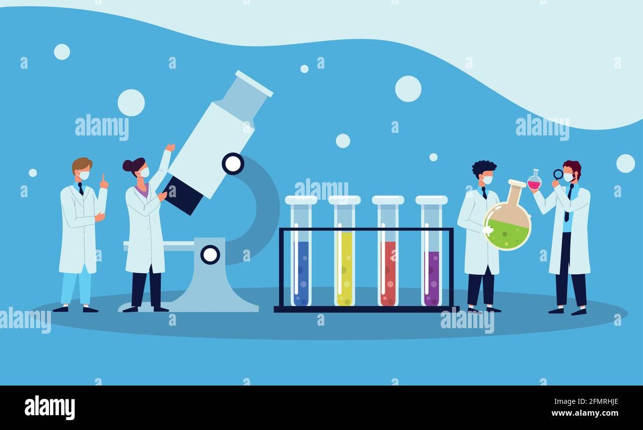 asistentes de laboratorio trabajando Ilustración del Vector