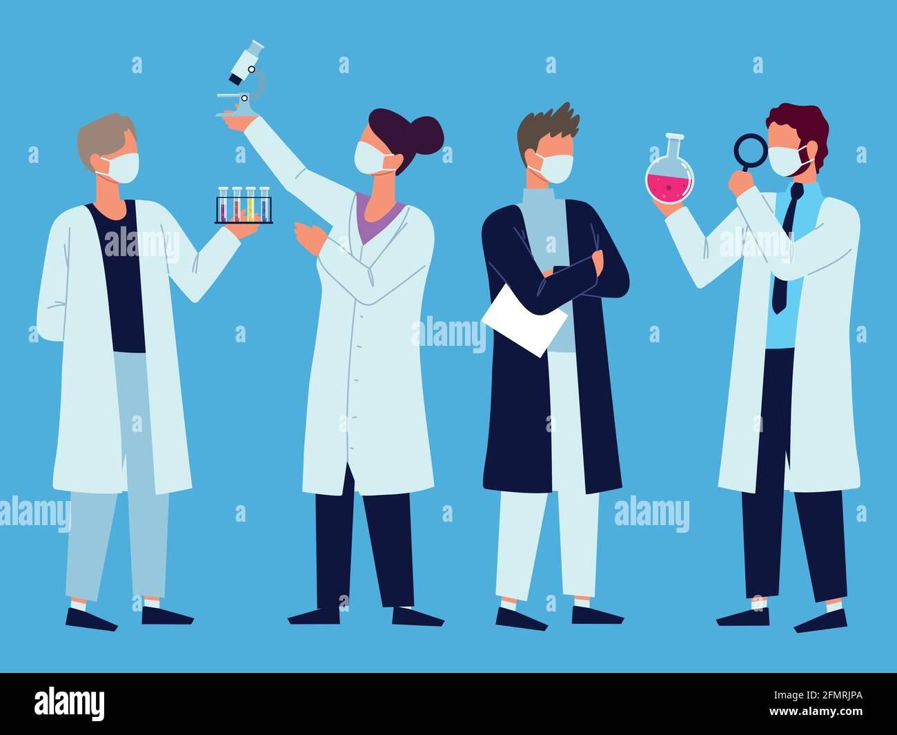 laboratorio del personal médico Ilustración del Vector