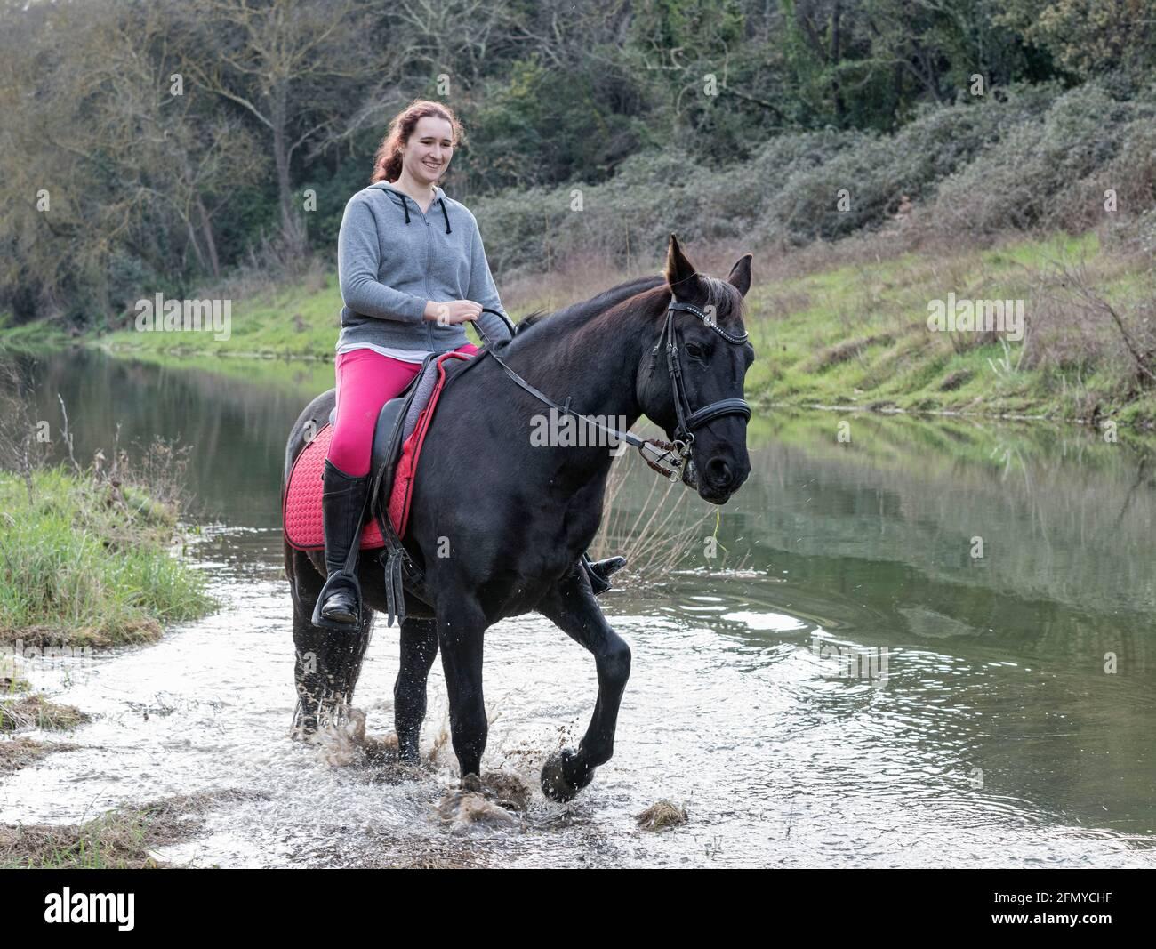 Chica de equitación están capacitando a su caballo negro Foto de stock