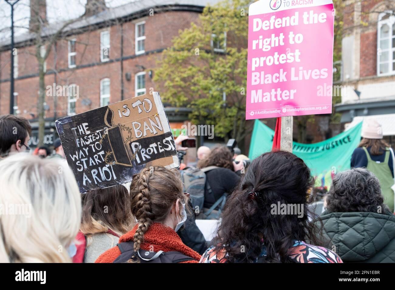Sheffield, Reino Unido: 1st de mayo de 2021 : Día Internacional de los Trabajadores y Matar el proyecto de ley Protesta contra la criminalización de la protesta en la Policía, el Crimen, Sentenci Foto de stock