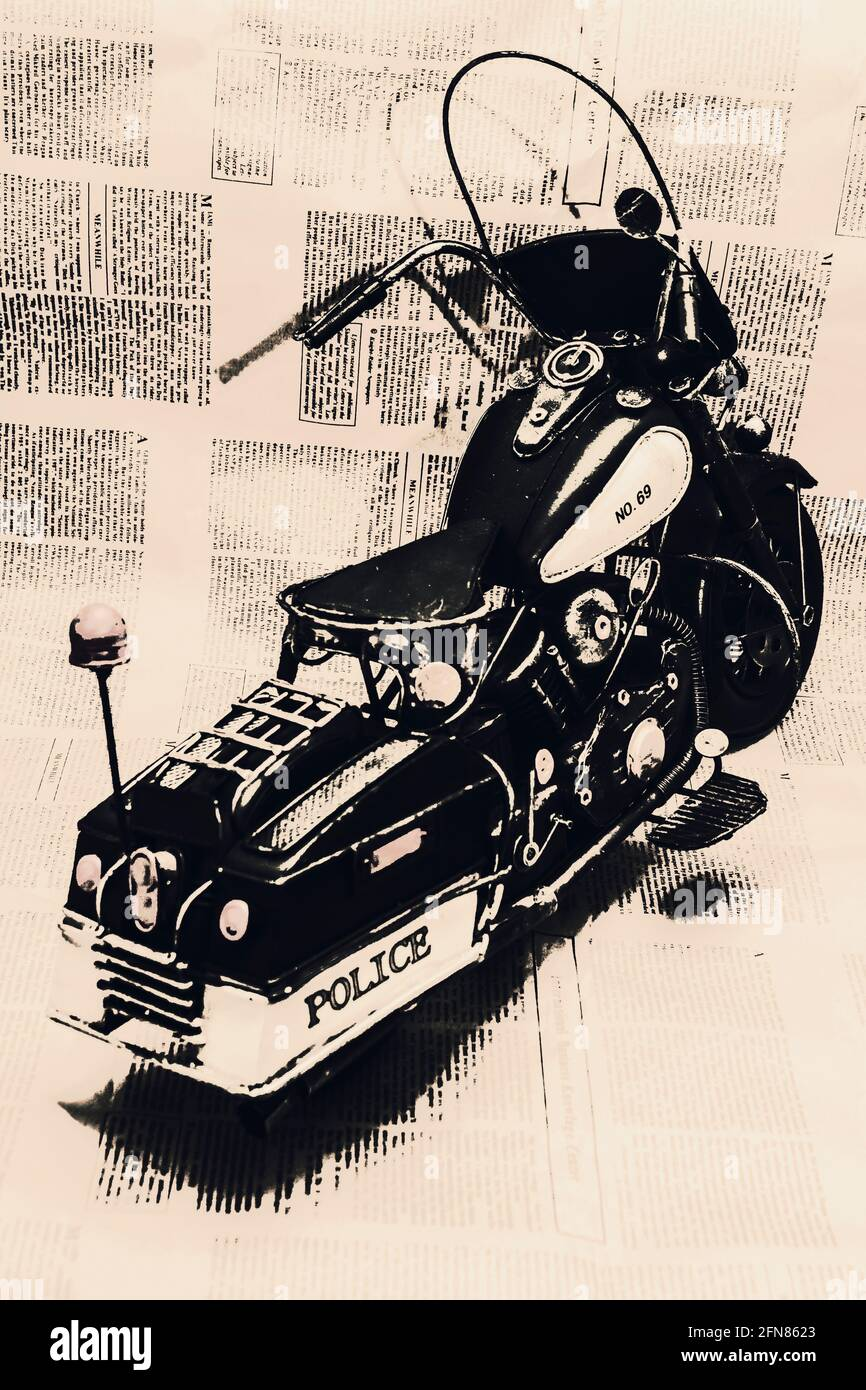 Arte de motoristas vintage en un picador de policía sobre el texto del estatuto y la promulgación. Inmóvil Foto de stock