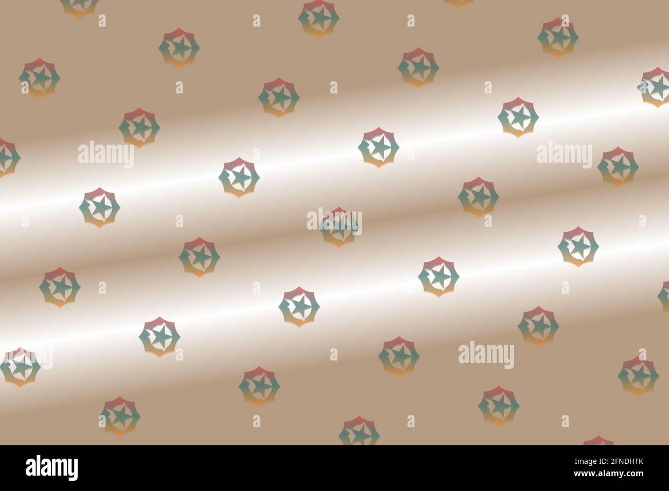 Estrella hexagonal flotando sobre la arena digital dorada- Fondo digital patrón Foto de stock