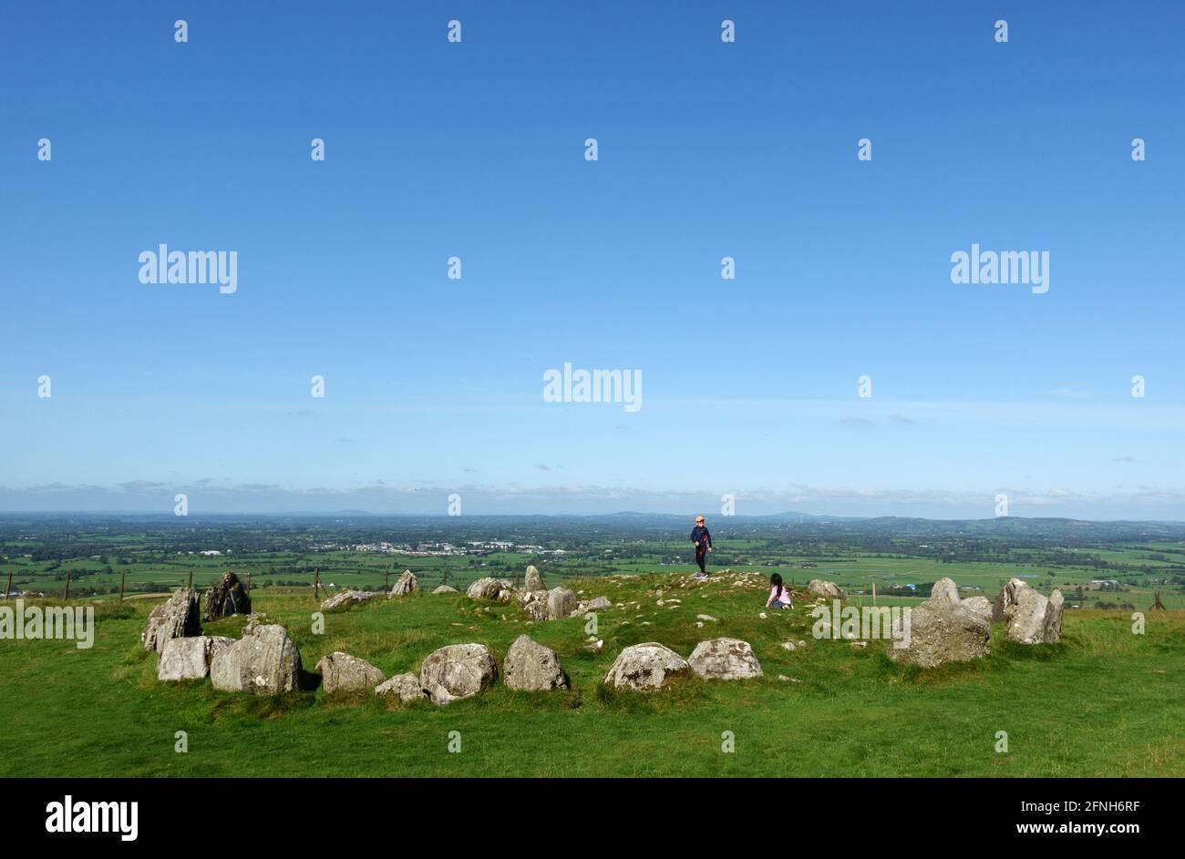 Loughcrews Ancient stones Circles, Co Meath, Irlanda Foto de stock