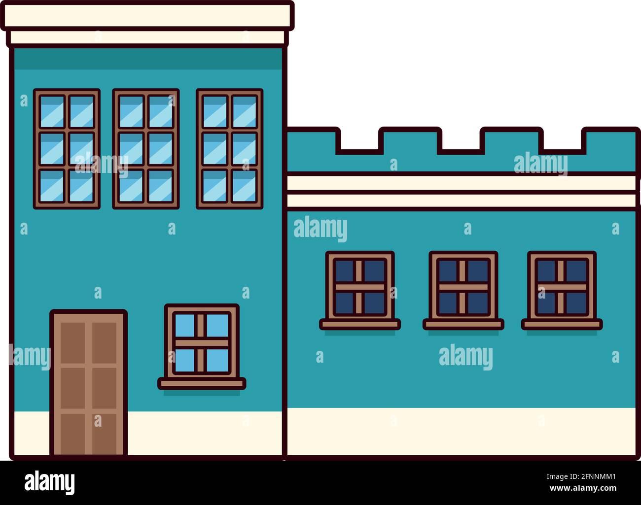 frente de casa azul Ilustración del Vector