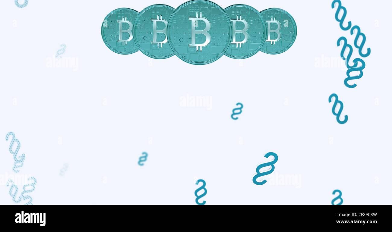 Composición de los bitcoins azules y símbolos de párrafo sobre fondo blanco Foto de stock