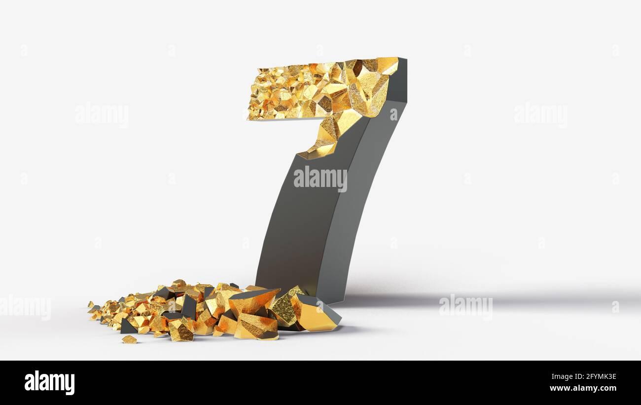 el negro dañado número 7 revela oro en su interior. 3d ilustración, adecuada para escribir, letras y temas del alfabeto. Foto de stock