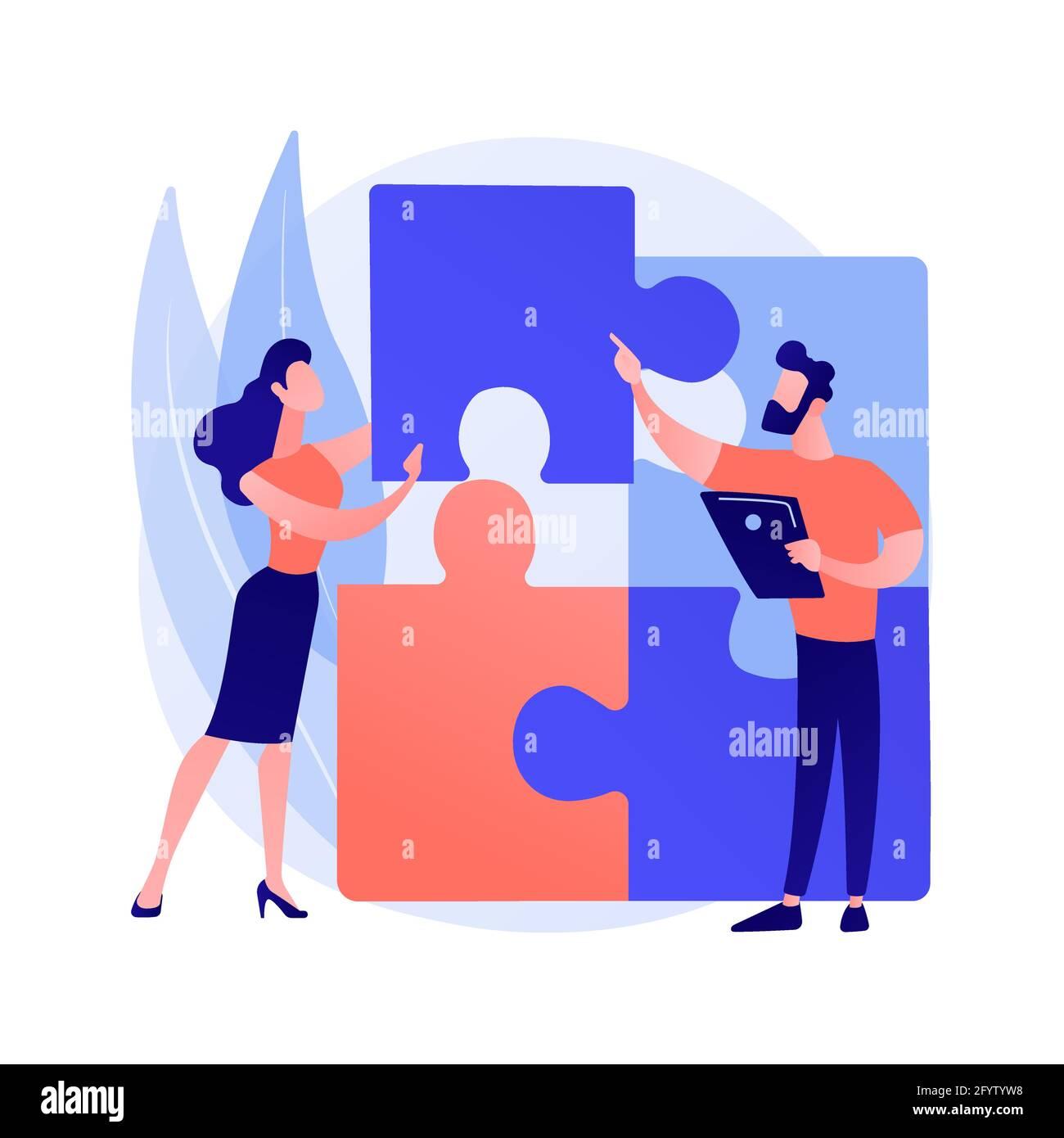 Estructura de diseño matriz resumen concepto vector ilustración. Representación visual del proyecto, análisis del sistema, gestión del proyecto, equipo de organización, p Ilustración del Vector