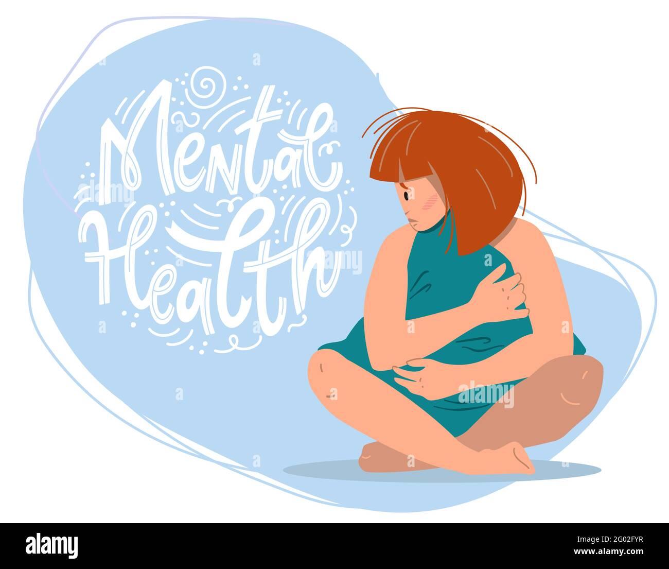 Concepto de salud mental. Mujer triste con depresión sentada en el suelo. Ilustración de vectores de colores en estilo de dibujos animados planos. Ilustración del Vector