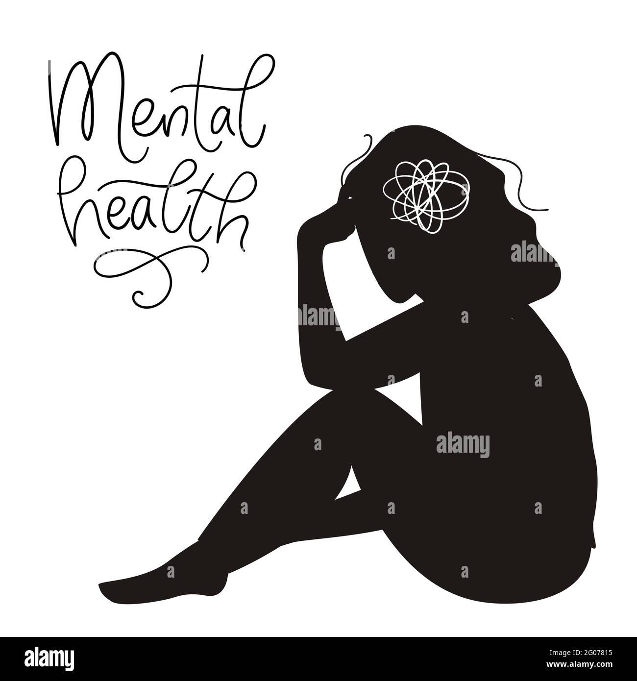 Concepto de salud mental. Silueta de mujeres tristes con depresión sentada en el suelo. Ilustración de vectores de colores en estilo de dibujos animados planos Ilustración del Vector