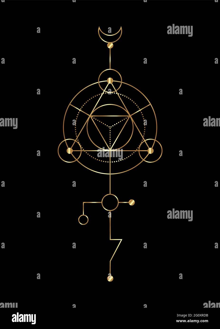Geometría sagrada signos místicos abstractos. Merkaba forma de triángulo geométrico de línea delgada, símbolos esotéricos o espirituales, aislados sobre fondo negro. Oro l Ilustración del Vector